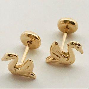 Ducks Screw Backs Goldfilled Earrings Studs